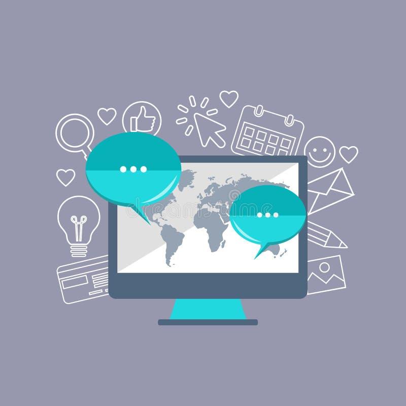Concetto di strategia di marketing del email Illustrazione piana di vettore illustrazione vettoriale