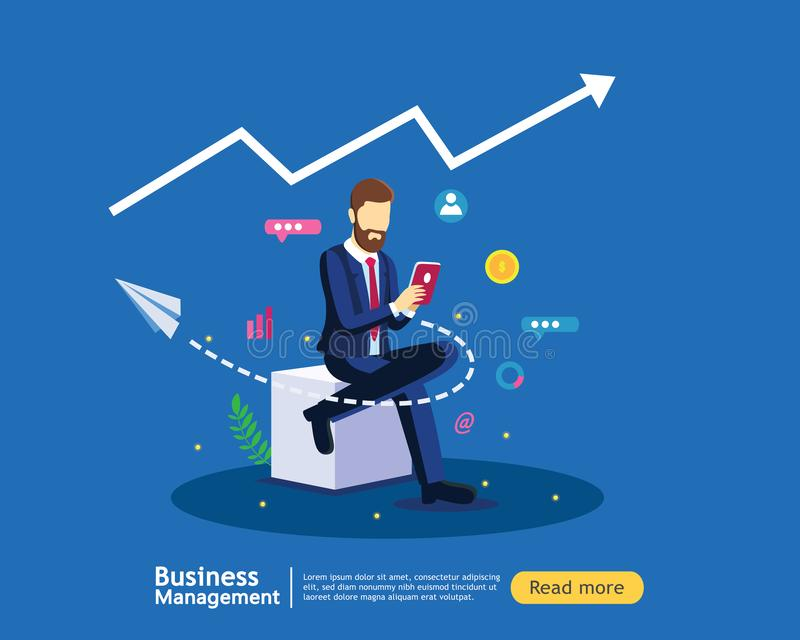 Concetto di strategia di marketing di Digital con l'uomo di affari in modello piano moderno di progettazione per la pagina di att illustrazione di stock