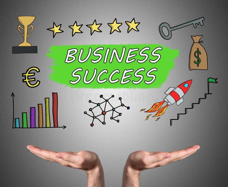 Concetto di successo di affari continuo dalle mani aperte immagini stock