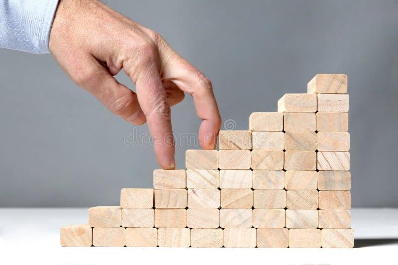 Concetto di successo: le scale costruiscono con i blocchetti di legno del giocattolo ed il dito umano due che lo scalano su fondo immagini stock