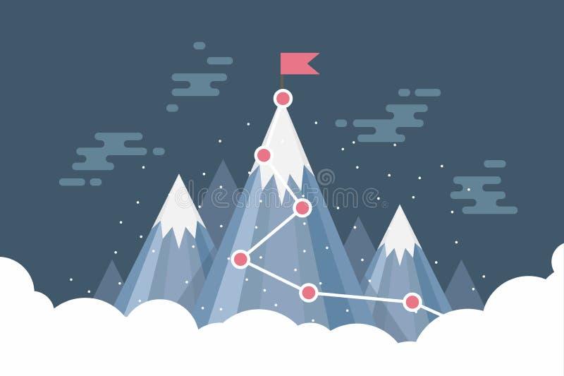 Concetto di successo di scopo di affari infographic Bandiera sulla cima della montagna della neve illustrazione di stock