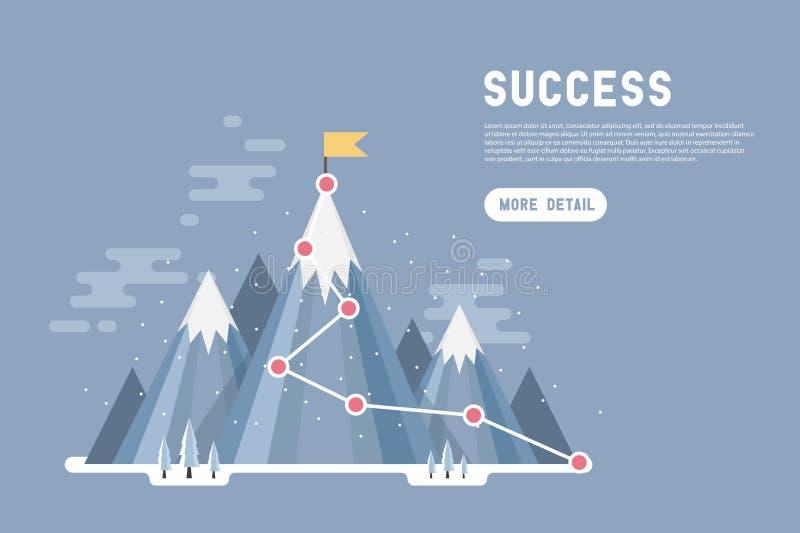 Concetto di successo di scopo di affari infographic Bandiera sulla cima della montagna della neve illustrazione vettoriale