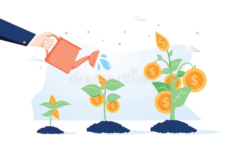 Concetto di sviluppo di affari Vettore di una mano dell'uomo di affari con il vaso che innaffia l'albero proficuo dei soldi illustrazione vettoriale
