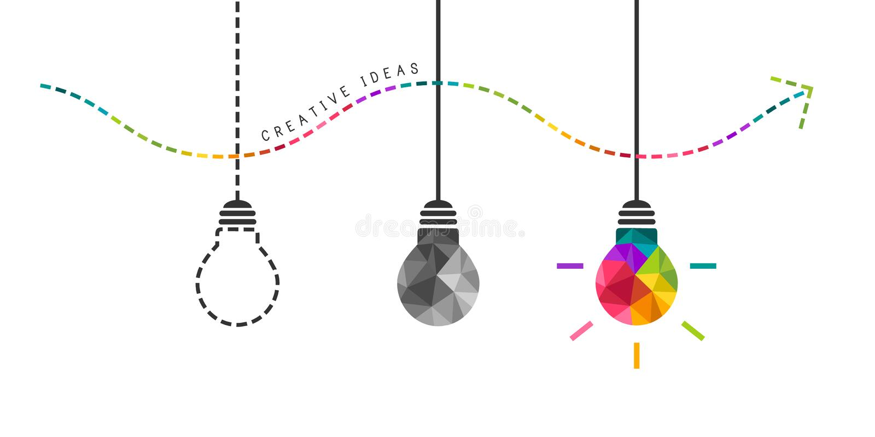 Concetto di sviluppo di creatività con la lampadina illustrazione vettoriale