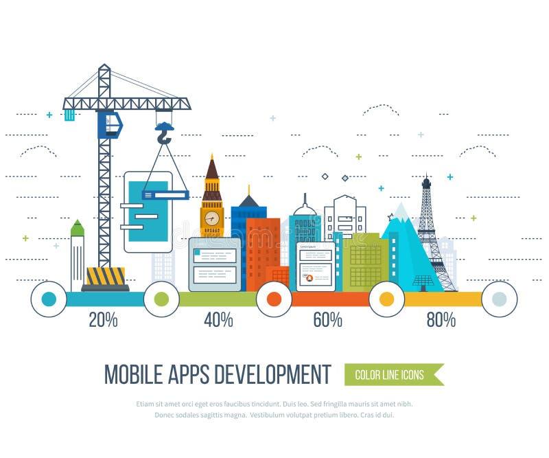Concetto di sviluppo di applicazioni per l'e-business, applicazioni mobili, insegne illustrazione vettoriale