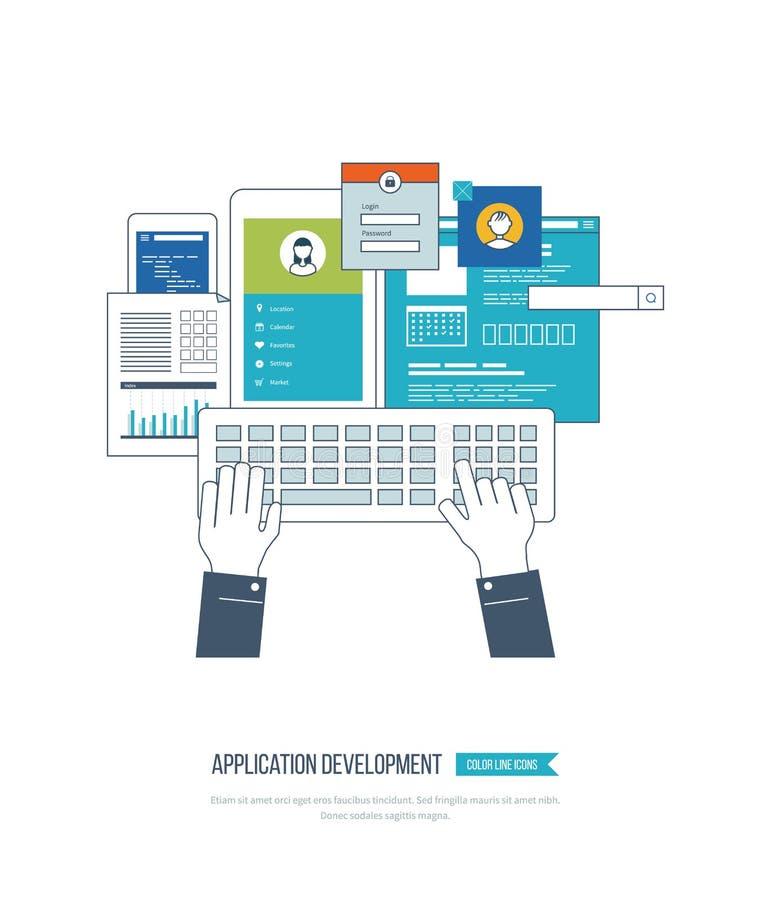 Concetto di sviluppo di applicazioni per l'e-business, siti Web, applicazioni mobili illustrazione di stock