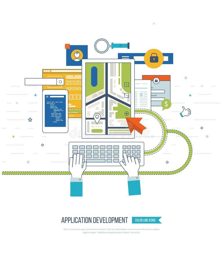 Concetto di sviluppo di applicazioni per l'e-business, siti Web, applicazioni mobili illustrazione vettoriale