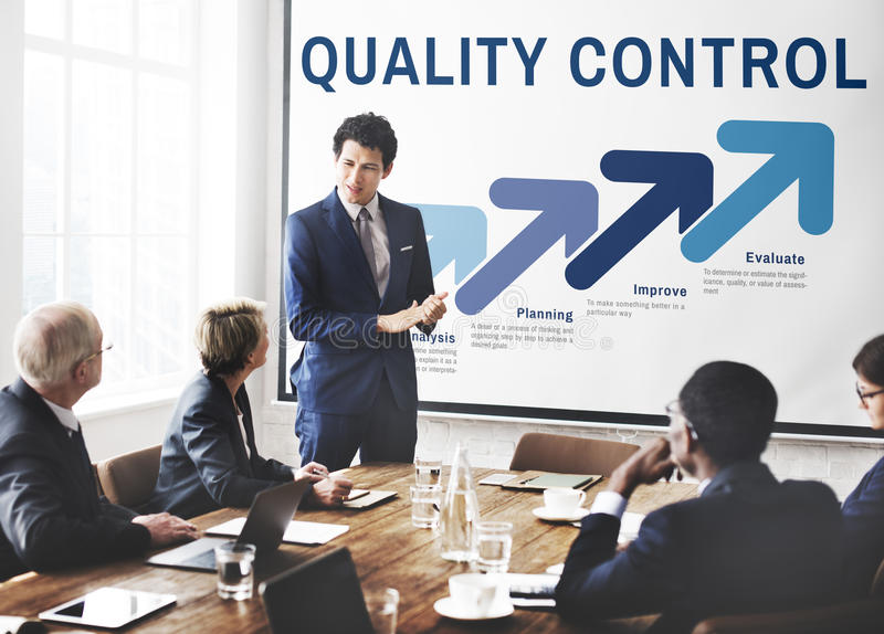 Concetto di sviluppo di miglioramento di controllo di qualità immagini stock libere da diritti
