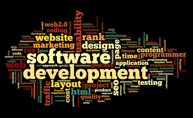 Concetto di sviluppo di software in nuvola dell'etichetta royalty illustrazione gratis