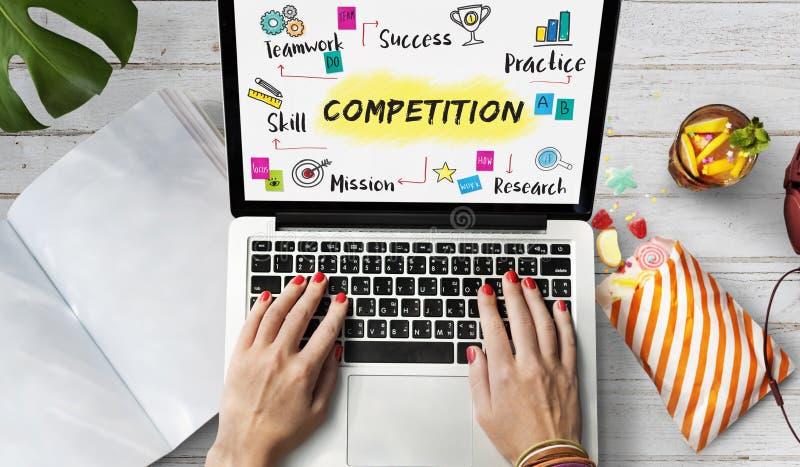 Concetto di sviluppo di successo di scopo di scopo della concorrenza immagini stock