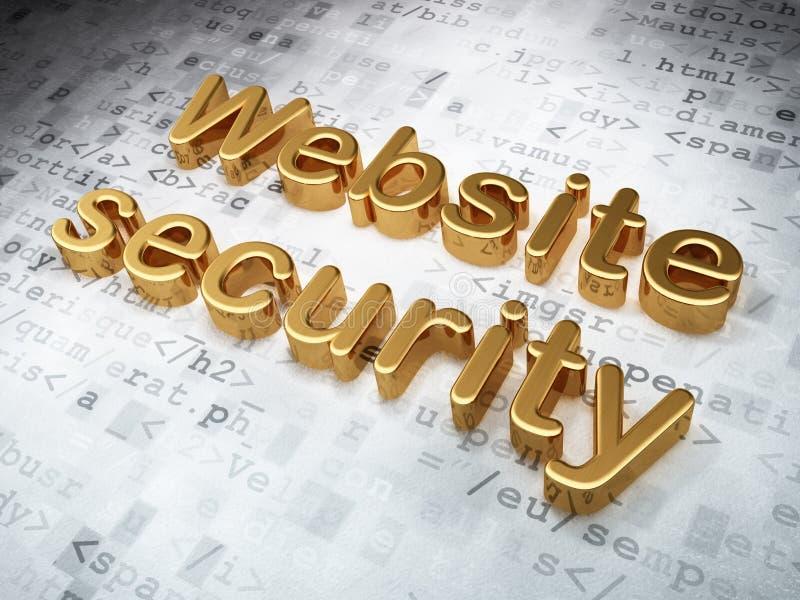 Concetto di sviluppo di web di SEO: Sicurezza dorata del sito Web su digitale immagine stock
