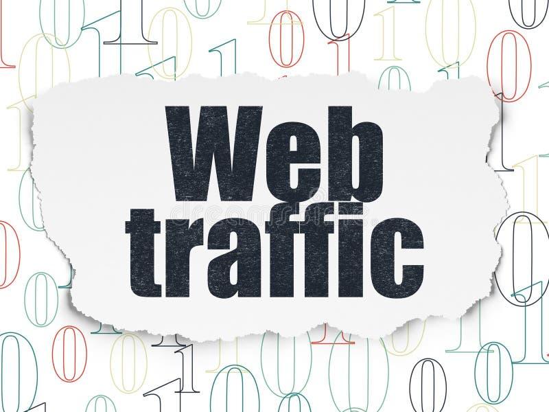Concetto di sviluppo Web: Traffico di web su fondo di carta lacerato illustrazione vettoriale