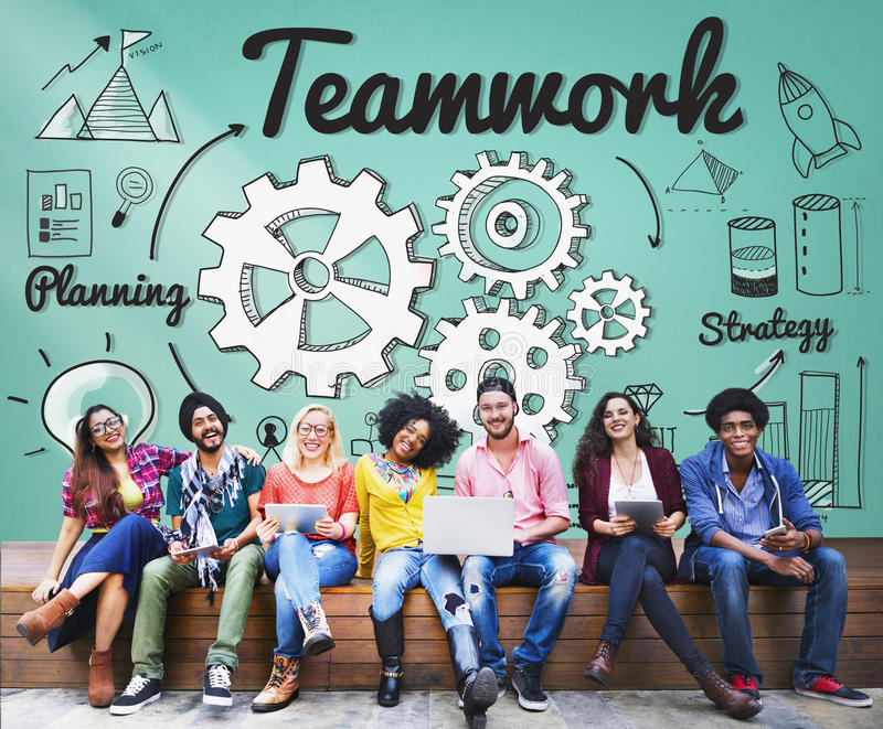 Concetto di Team Teamwork Support Unity Togetherness immagine stock
