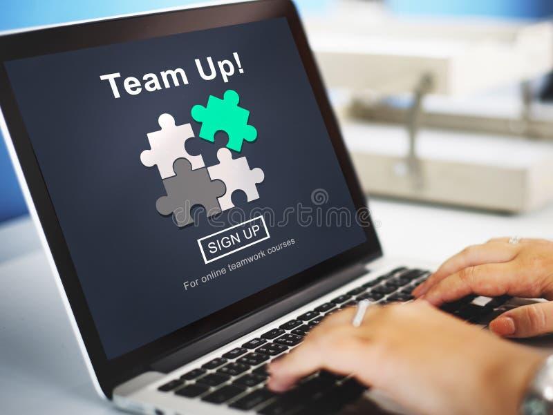 Concetto di Team Up Teamwork Collaboration Togetherness fotografia stock