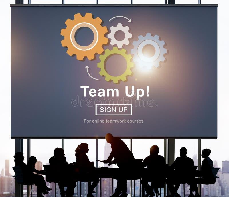 Concetto di Team Up Teamwork Collaboration Togetherness fotografia stock libera da diritti