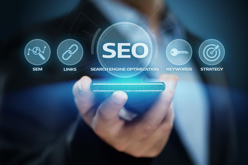Concetto di tecnologia di affari di Internet del sito Web di traffico del posto di SEO Search Engine Optimization Marketing immagine stock