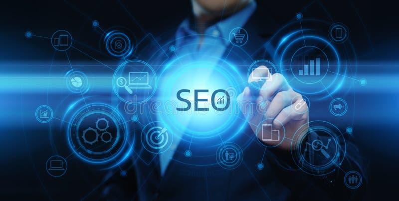 Concetto di tecnologia di affari di Internet del sito Web di traffico del posto di SEO Search Engine Optimization Marketing illustrazione vettoriale