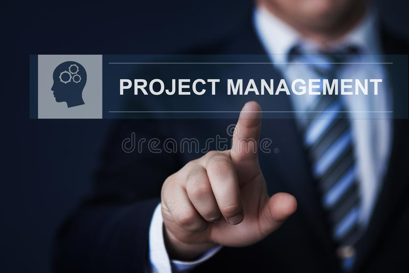 Concetto di tecnologia di affari di Internet di piano di strategia della gestione di progetti fotografia stock