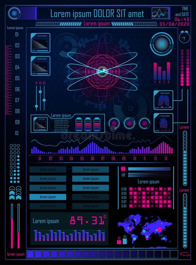 Concetto di tecnologia con Hud, Gui Design Elements Displa agile illustrazione vettoriale