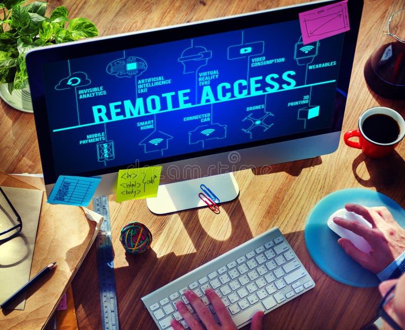Concetto di tecnologia dei fuchi collegato accesso remoto immagini stock