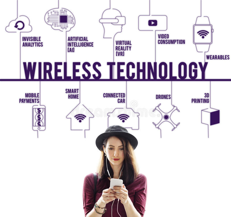 Concetto di tecnologia dei fuchi collegato tecnologia wireless fotografia stock