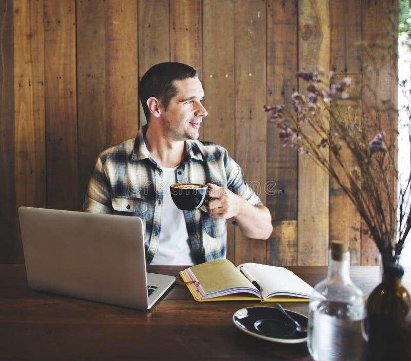 Concetto di tecnologia del cappuccino del Latte del caffè della caffetteria fotografia stock libera da diritti