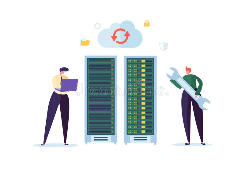 Concetto di tecnologia del centro dati Ingegneri piani dei caratteri della gente che lavorano nella stanza del server di rete Web illustrazione vettoriale