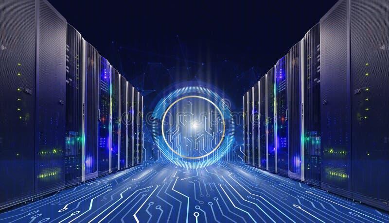 Concetto di tecnologia dell'informazione di grandi dati Stanza con i connettori della scheda madre, fondo del server di tecnologi fotografia stock libera da diritti