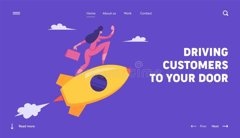 Concetto di tecnologia dell'innovazione di partenza Nuovo progetto di affari, donna che guida Rocket Gestione e sviluppo, scopo royalty illustrazione gratis