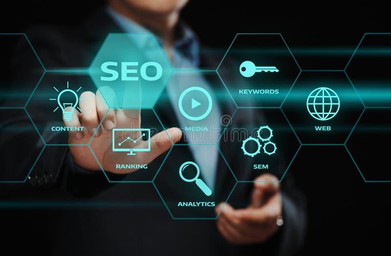 Concetto di tecnologia di affari di Internet del sito Web di traffico del posto di SEO SEM Search Engine Optimization Marketing fotografie stock
