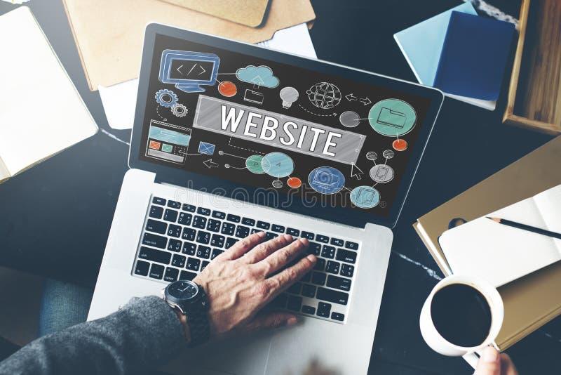 Concetto di tecnologia di comunicazione globale del homepage del sito Web immagini stock libere da diritti