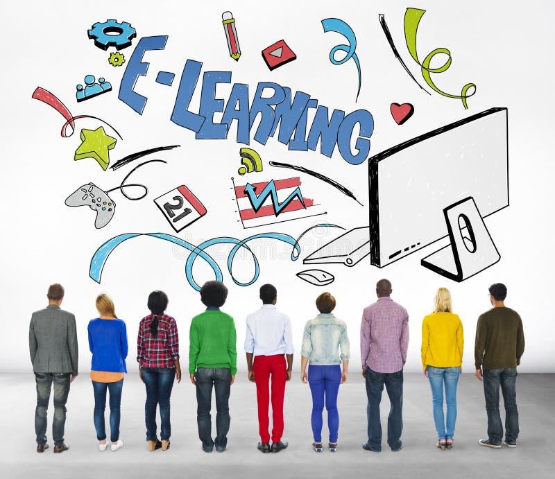 Concetto di tecnologia di comunicazione globale di istruzione di e-learning immagine stock libera da diritti