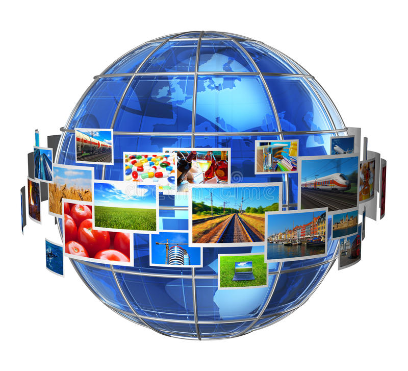Concetto di tecnologia di mezzi d'informazione e di telecomunicazione illustrazione vettoriale