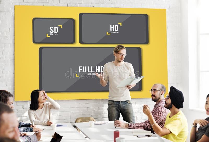 Concetto di tecnologia di multimedia di risoluzione della televisione immagine stock libera da diritti