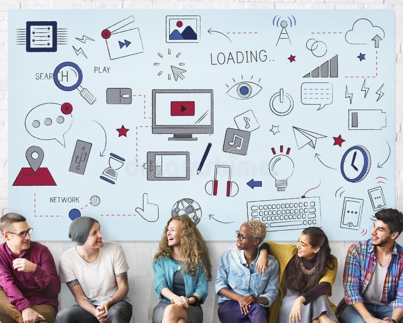 Concetto di tecnologia di rete sociale del collegamento di Wifi di Internet immagine stock libera da diritti