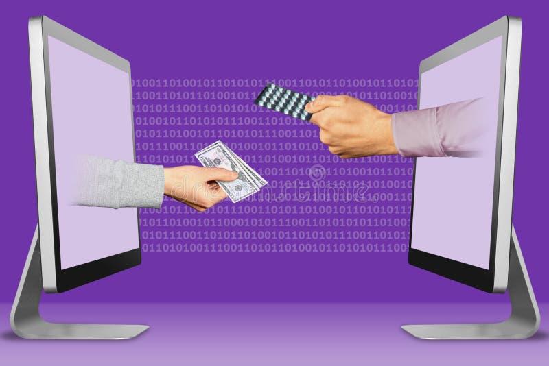 Concetto di tecnologia, due mani dai computer portatili mano con denaro contante e mano con le pillole della medicina illustrazio fotografie stock libere da diritti