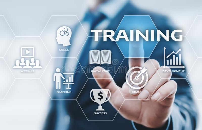 Concetto di tecnologia di Internet di affari di abilità di e-learning di Webinar di addestramento immagine stock libera da diritti