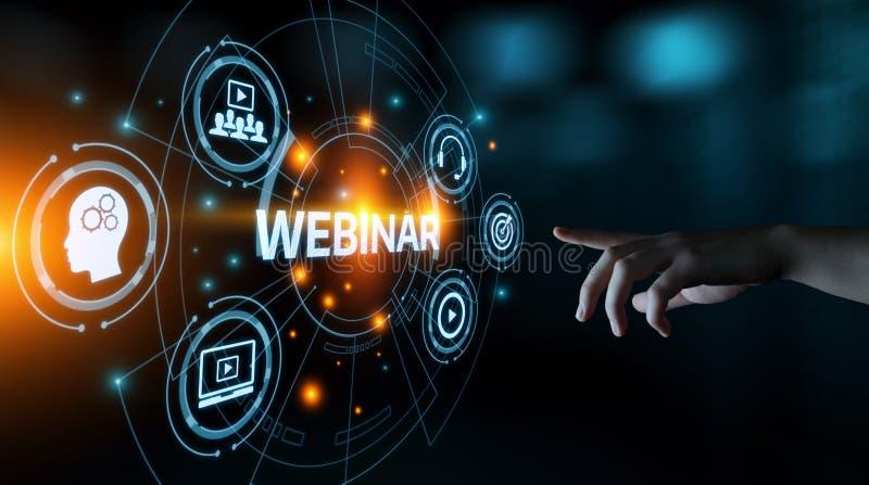 Concetto di tecnologia di Internet di affari di addestramento di e-learning di Webinar immagine stock