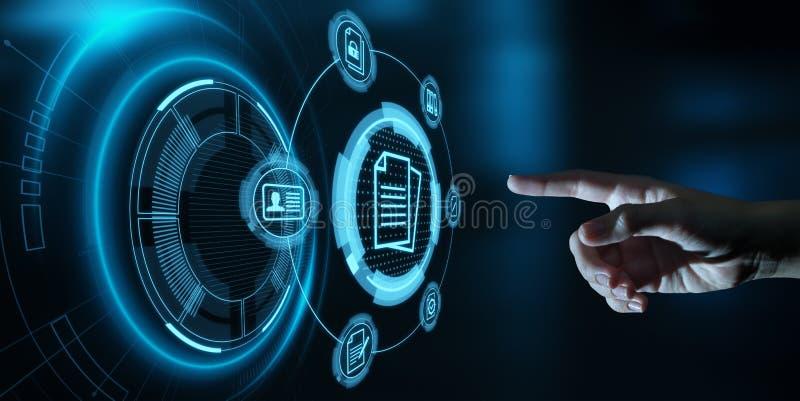 Concetto di tecnologia di Internet di affari del sistema dati della gestione di documenti immagine stock libera da diritti