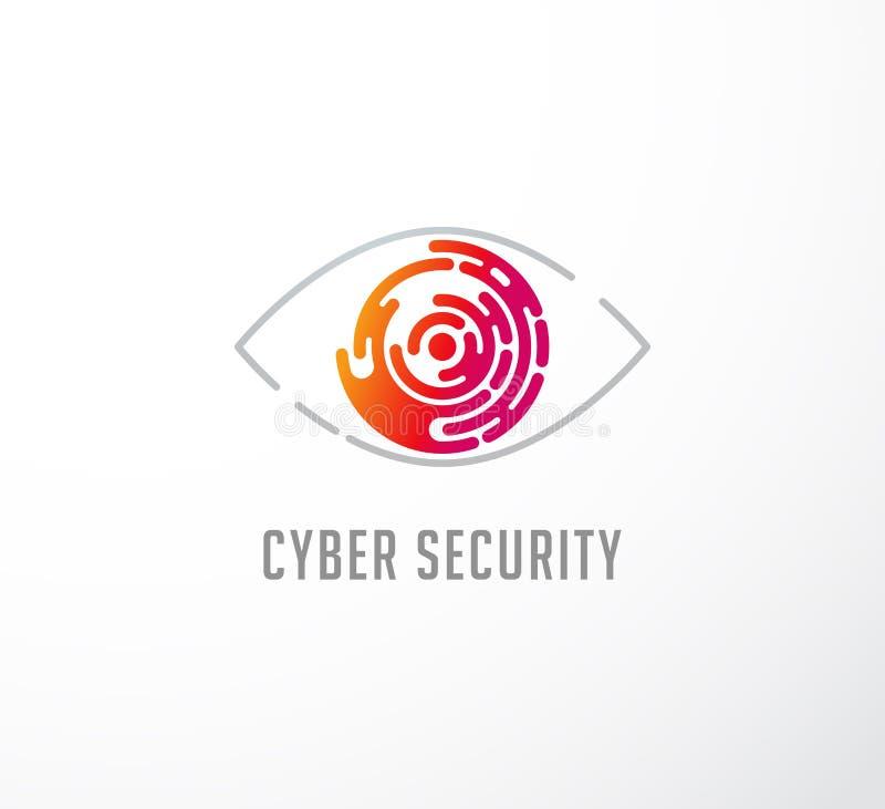 Concetto di tecnologia, logo dell'occhio ed icona illustrazione di stock