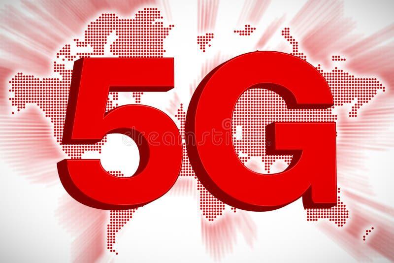 concetto di telecomunicazione 5G con la mappa di mondo, rappresentazione 3D immagini stock