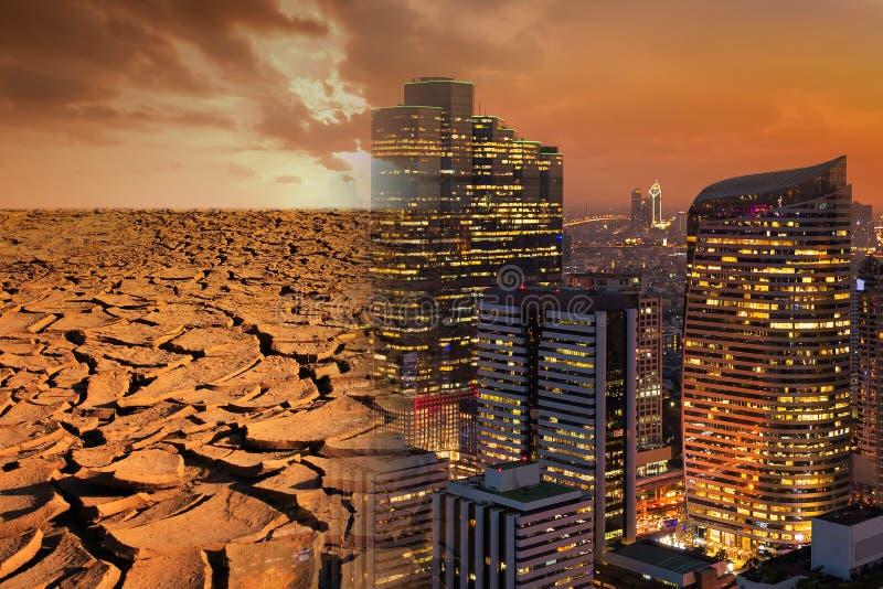 Concetto di tema di inquinamento e di riscaldamento globale fotografie stock libere da diritti
