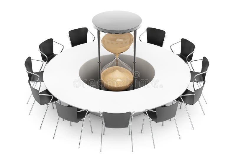 Concetto di tempo di affari Sedie intorno ad una Tabella con l'orologio della sabbia dentro illustrazione vettoriale