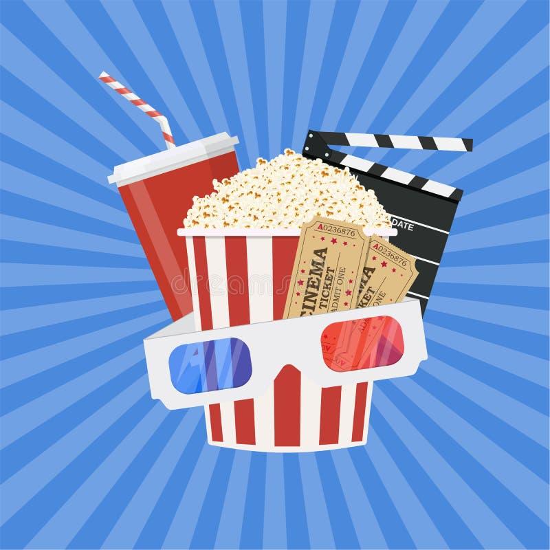 Concetto di tempo di film e del cinema illustrazione di stock