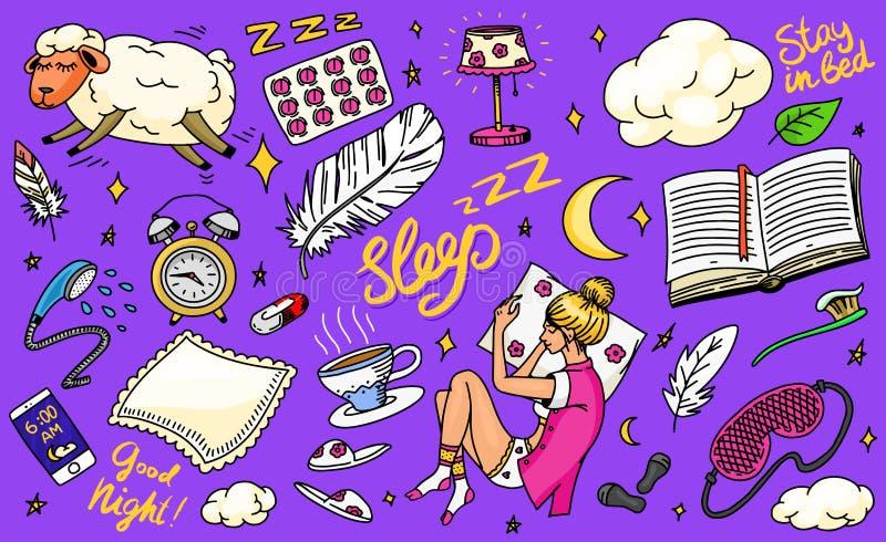 Concetto di tempo di sonno Fondo disegnato a mano di notte Cuscino delle pecore, ragazza nel sogno a letto, nuvole e piuma, camic illustrazione di stock