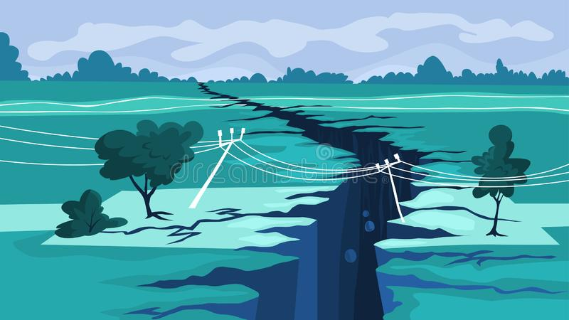 Concetto di terremoto Disastro naturale, una crepa gigante illustrazione vettoriale
