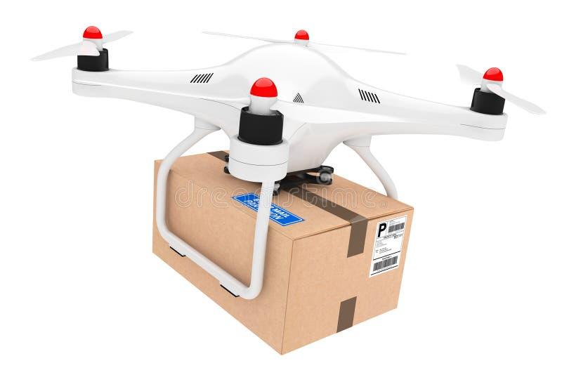 Concetto di trasporto del pacchetto Fuchi di Quadrocopter che consegnano un pacchetto royalty illustrazione gratis