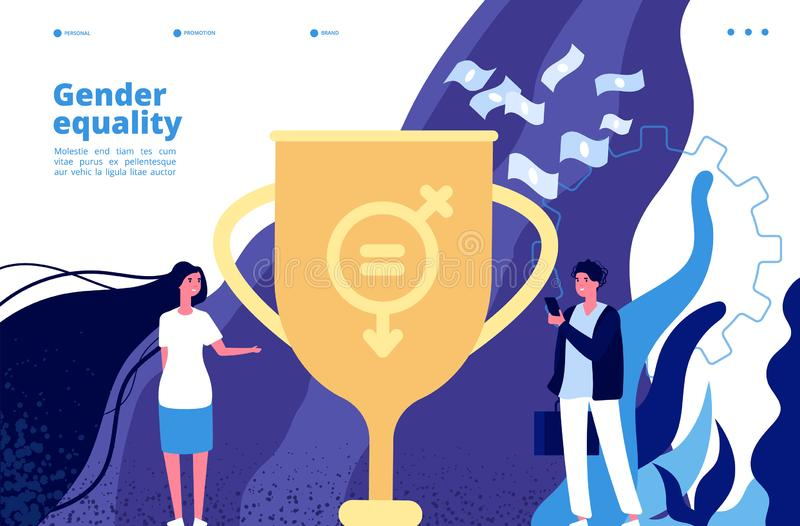 Concetto di uguaglianza di genere Diritti ed opportunità uguali fra gli uomini, donne Movimento di femminismo al vettore di tolle illustrazione di stock
