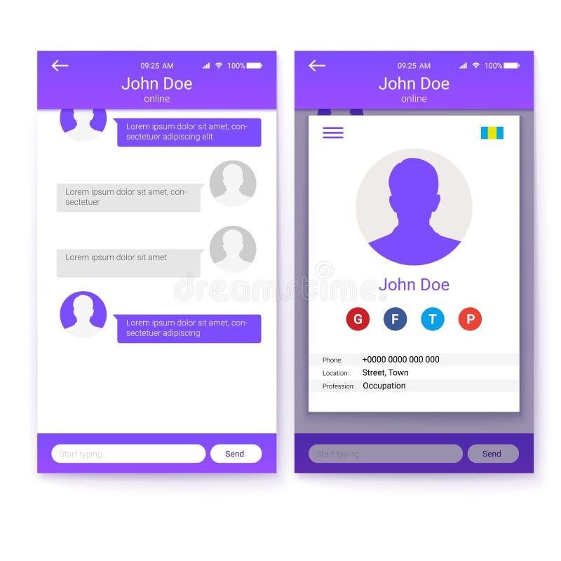 Concetto di UI del cellulare app, progettazione del GUI per il sito Web rispondente di affari o applicazioni Pagina del profilo e royalty illustrazione gratis
