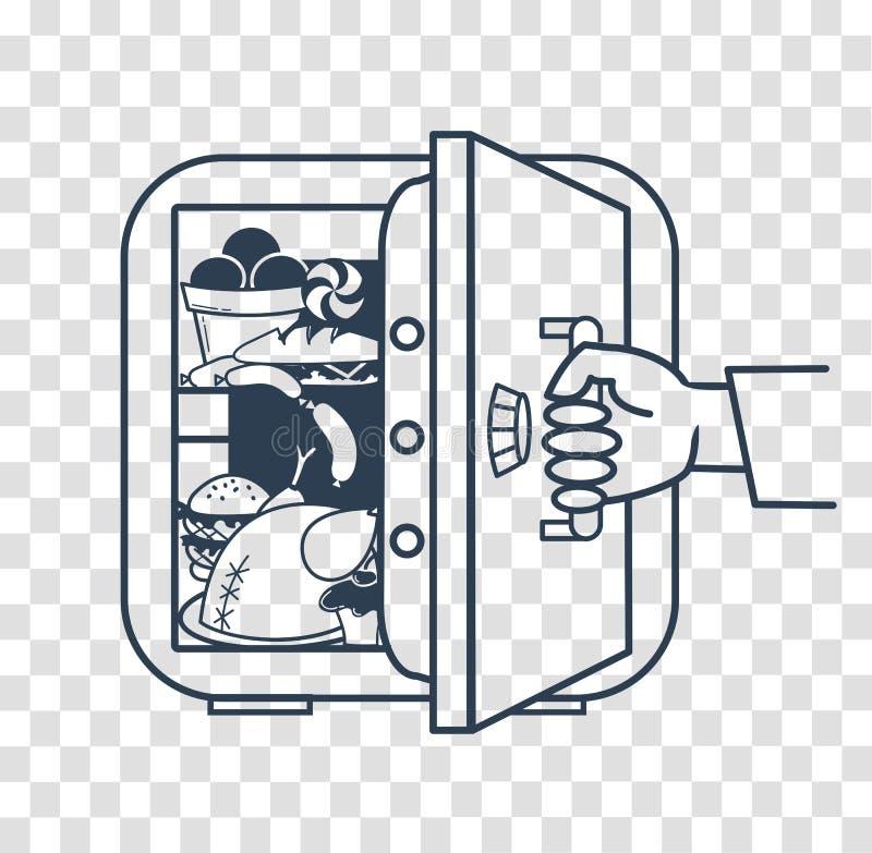 Concetto di un frigorifero della cassaforte di dieta illustrazione di stock